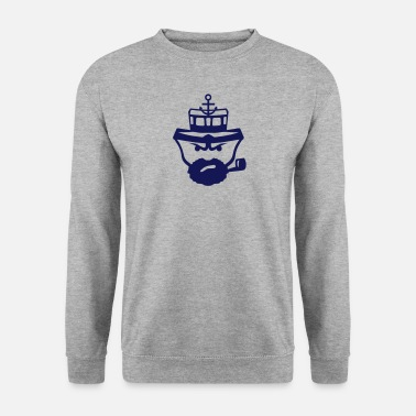 Marin personnage marin pipe barbe ancre bateau - Sweat-shirt Homme