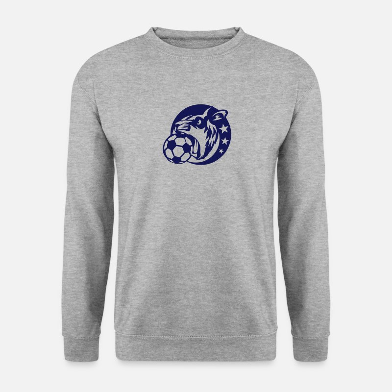 Animal Sweat-shirts - lion football logo sport animal 5028 - Sweat-shirt Homme gris chiné