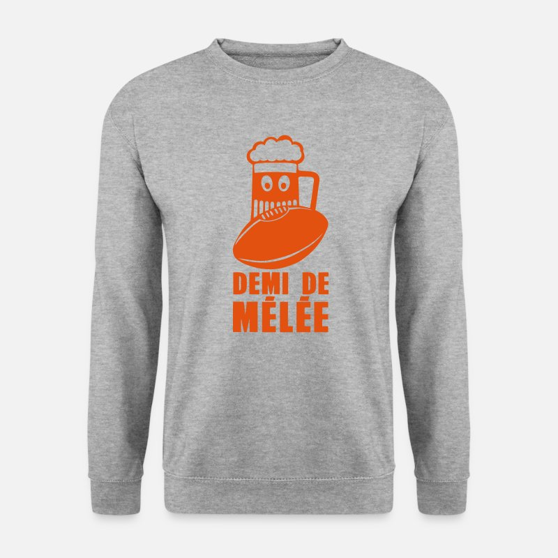 Humour Sweat-shirts - demi de melee rugby biere humour sport - Sweat-shirt Homme gris chiné