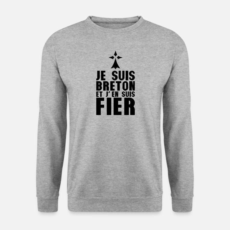 Fier Sweat-shirts - je suis breton fier hermine 303 - Sweat-shirt Homme gris chiné