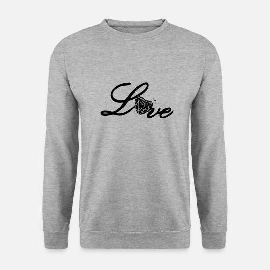 Neck Hoodies & Sweatshirts - Love typo with heart diamond - Men's Sweatshirt salt & pepper