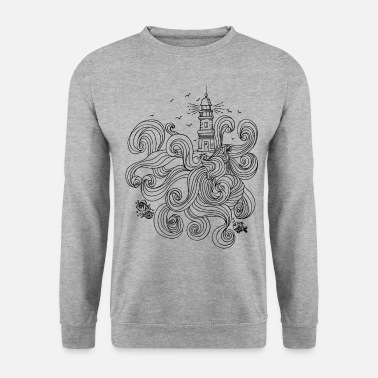 Phare Phare avec des vagues sauvages - Sweat-shirt Homme