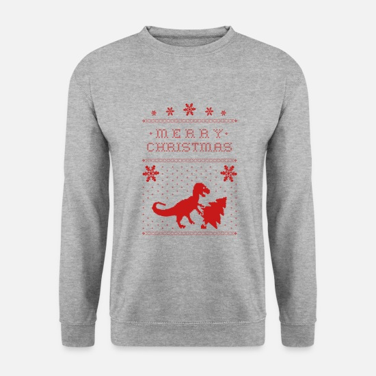 Moches De Noël Sweat-shirts - Noël - Noël - Noël - truand - Trex - Sweat-shirt Homme gris chiné