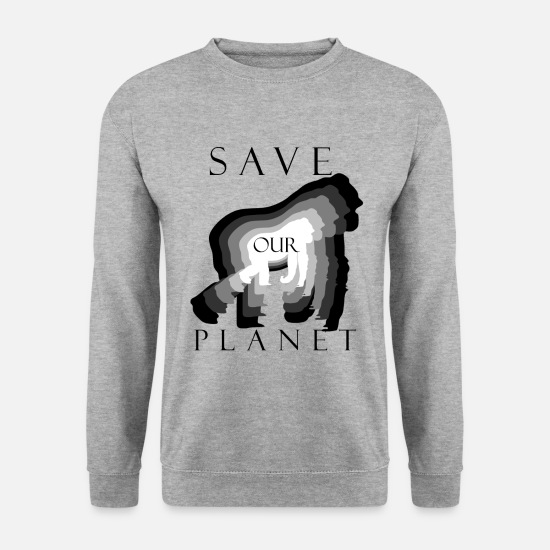 Gift Sweaters & hoodies - Save Our Planet, Climate Protection Gorilla Shirt - Mannen sweater witgrijs gemêleerd