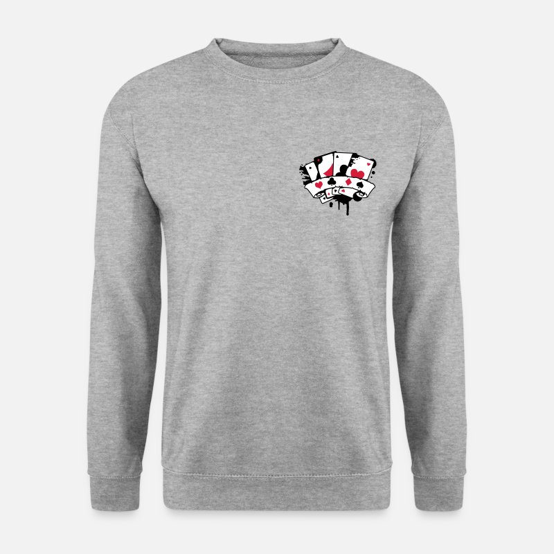 Cards Hoodies & Sweatshirts - four playing cards and a banner - Men's Sweatshirt salt & pepper