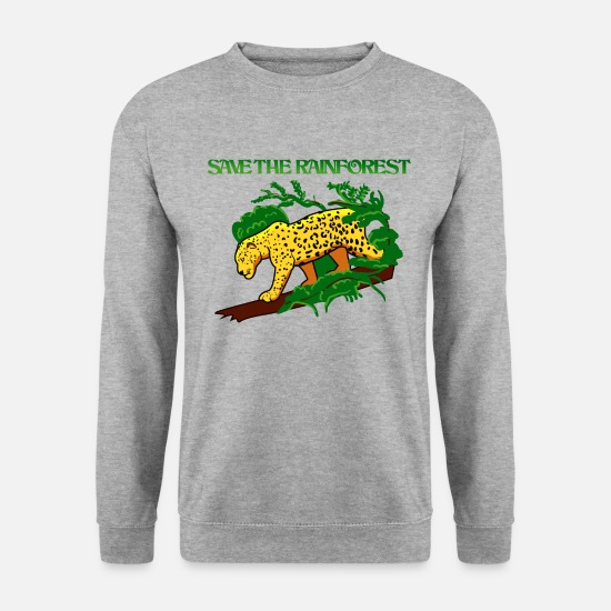 Écologie Sweat-shirts - Jaguar dans la forêt tropicale - Sweat-shirt Homme gris chiné