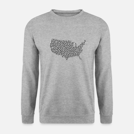 Country Sweat-shirts - United States Map Stars - Sweat-shirt Homme gris chiné