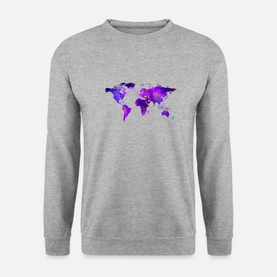 "Travel Hoodies & Sweatshirts - World Map ""Colorful Earth"" - Men's Sweatshirt salt & pepper"