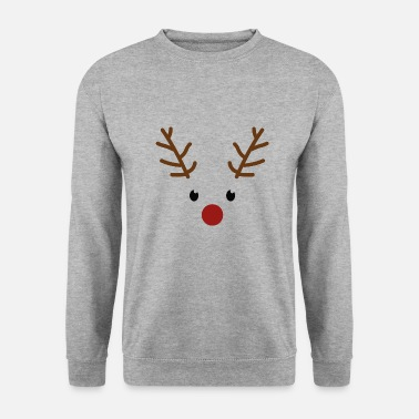 Christmas reindeer face with red nose - Men's Sweatshirt
