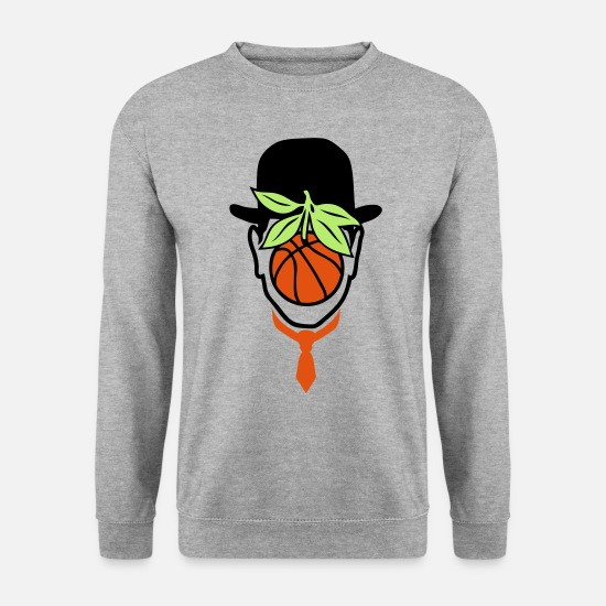 Ballon Sweat-shirts - chapeau melon basketball homme ballon ma - Sweat-shirt Homme gris chiné
