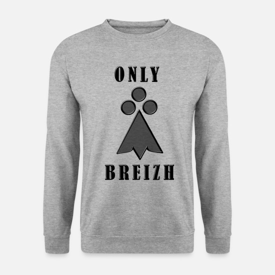 Bretagne Sweat-shirts - Only Breizh Bretagne Hermine - Sweat-shirt Unisex gris chiné