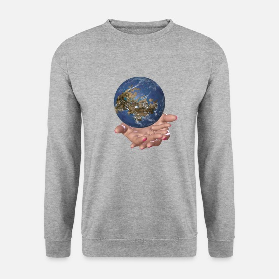 Earth Hoodies & Sweatshirts - Earth is in our hands - Men's Sweatshirt salt & pepper