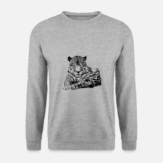 Safari Sweat-shirts - léopard - Sweat-shirt Homme gris chiné
