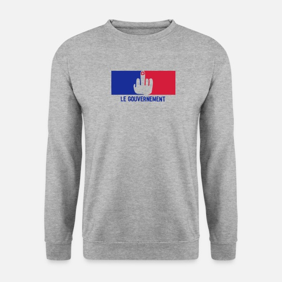 Gouvernement Sweat-shirts - fuck gouvernement francais drapeau - Sweat-shirt Homme gris chiné
