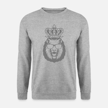 Logo lion couronne roi tete face logo 910 - Sweat-shirt Homme