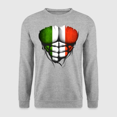 Italy flag torso body muscled abdos - Men's Sweatshirt