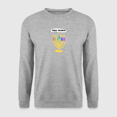 Happy Hanukkah cute cartoon smiley menorah Other - Men's Sweatshirt