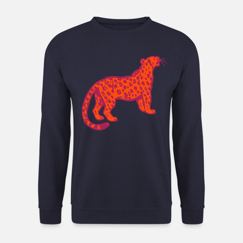 Leopard Hoodies & Sweatshirts - Curious Leopard by Cheerful Madness!! - Men's Sweatshirt navy