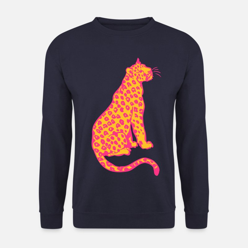 Leopard Hoodies & Sweatshirts - Sitting Leopard by Cheerful Madness!! - Men's Sweatshirt navy
