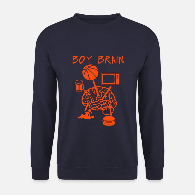 Panier Sweat-shirts - boy brain basket tv biere sexe bouffe - Sweat-shirt Homme marine