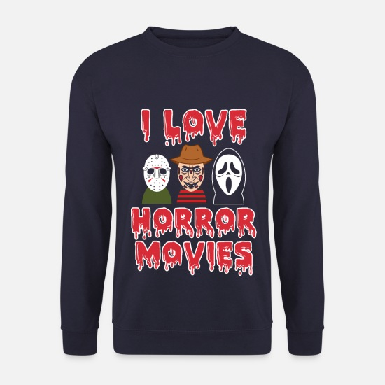 Mortvivant Sweat-shirts - J'aime les films d'horreur | Films de peur thriller zombie - Sweat-shirt Homme marine