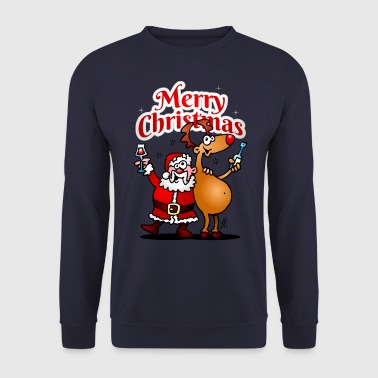 Xmas Merry Christmas - Santa Claus and his reindeer - Men's Sweatshirt