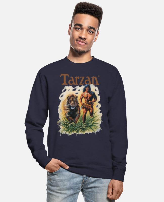 Friendship Hoodies & Sweatshirts - Tarzan Running Lion Through Wilderness - Unisex Sweatshirt navy