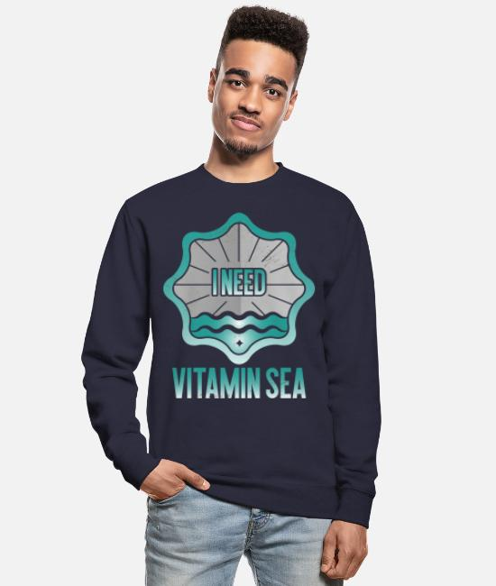 Maritime Hoodies & Sweatshirts - Sea waves beach swim maritime gift - Unisex Sweatshirt navy
