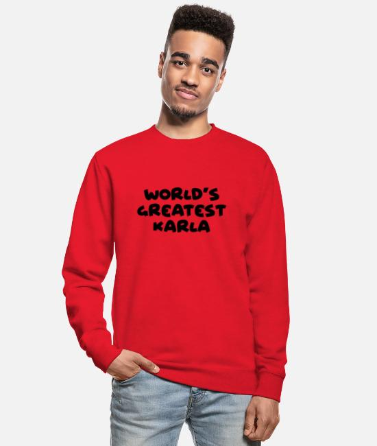 World Hoodies & Sweatshirts - worlds greatest karla name - Unisex Sweatshirt red