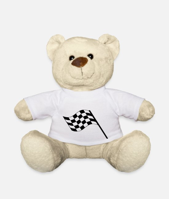 Target Teddy Bear Toys - Flag Race Car Destination Motorcycle - Teddy Bear white