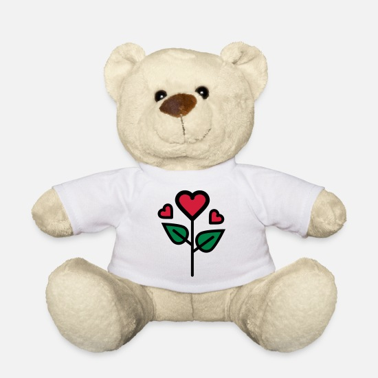 Engagement Teddy Bear Toys - Valentine's Rose in heart shape - Teddy Bear white
