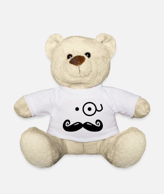 Boss Peluches - gentlemans mustache with glass / sir - Ours en peluche blanc