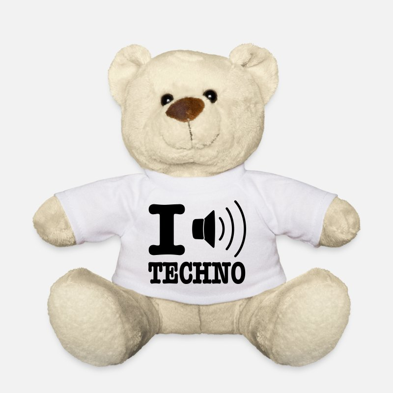 Hardstyle Teddy Bear Toys - I love techno / I speaker techno - Teddy Bear white