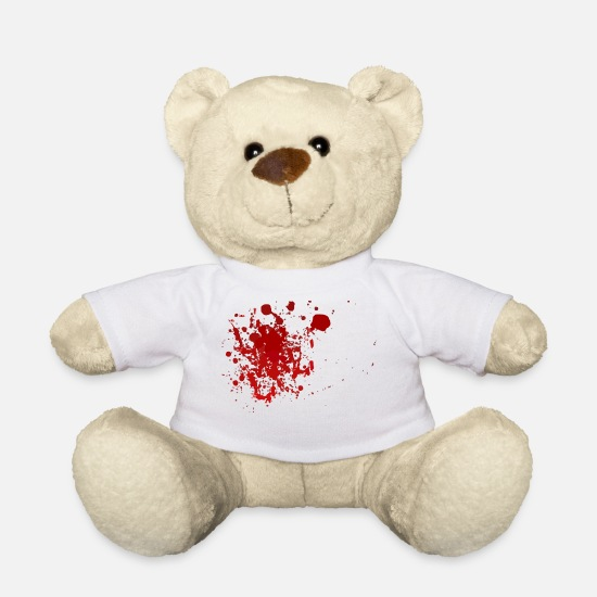Blood Splatter Teddy Bear Toys - Blood splatter splatter Halloween blood spatter - Teddy Bear white