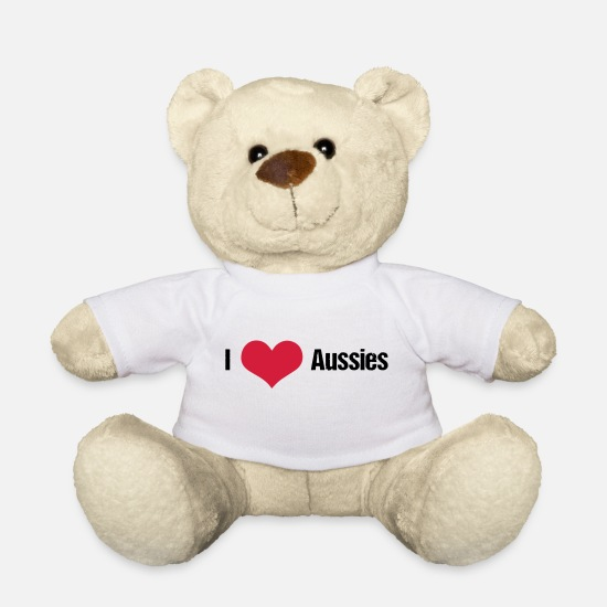Love Teddy Bear Toys - I love Aussies Australian Shepherd - Teddy Bear white