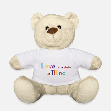 Love Is A State Of Mind - Rainbow Typography - Teddy Bear