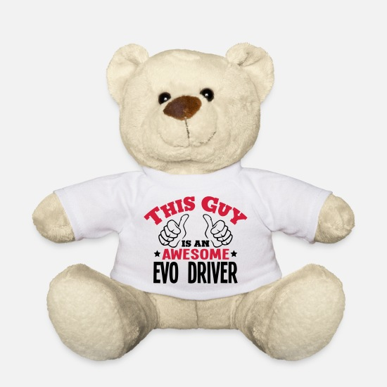 Race Car Teddy Bear Toys - this guy is an awesome evo driver 2col - Teddy Bear white