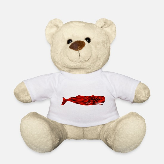 Gift Idea Teddy Bear Toys - Sperm Whale Pattern Red Gift Idea - Teddy Bear white