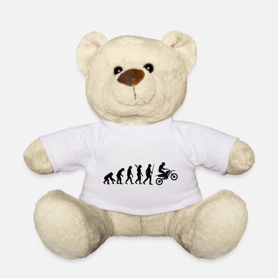 Motorcycle Teddy Bear Toys - MOTORCYCLE EVOLUTION - Teddy Bear white