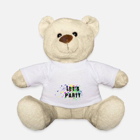 Lets Have A Party Teddy Bear Toys - lets party - Teddy Bear white