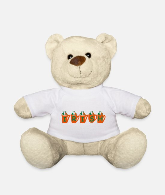 I Am In Love With Irish People Ireland UK Drink Lucky Irish Shamrock Tea Coffee Funny Irish Quotes C Teddy Bear Toys - ♥ټ☘Drink the Irish Shamrock Tea for Luck☘ټ♥ - Teddy Bear white