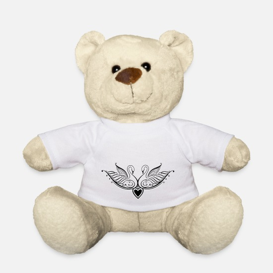Love Teddy Bear Toys - Filigree calligraphy swans with heart. - Teddy Bear white
