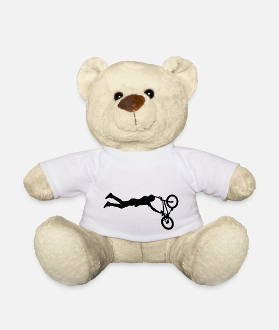 Stunt Teddy Bear Toys - BMX Bicycle Sports Bike - Teddy Bear white