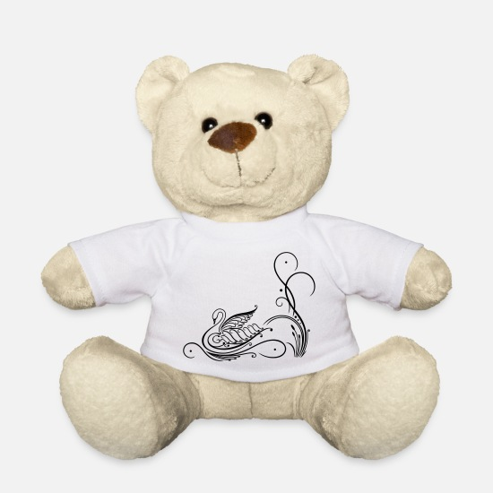 Love Teddy Bear Toys - Filigree calligraphy swan with reed - Teddy Bear white