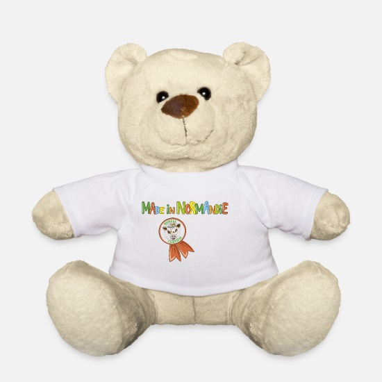 "Boerin Knuffeldieren - Koe ""Made in Normandy"" - Teddybeer wit"