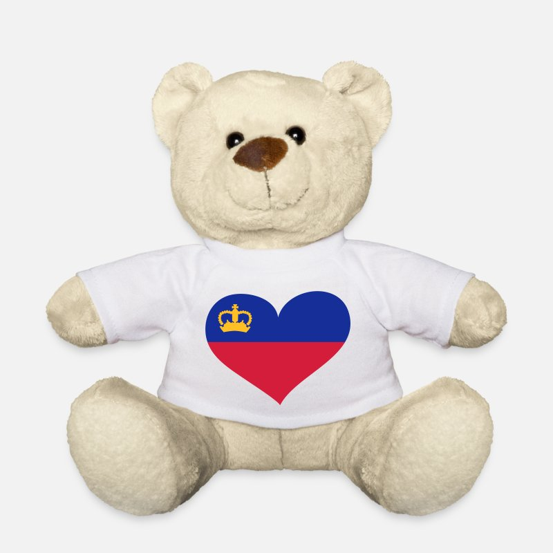 Country Teddy Bear Toys - Liechtenstein Herz; Heart Liechtenstein - Teddy Bear white
