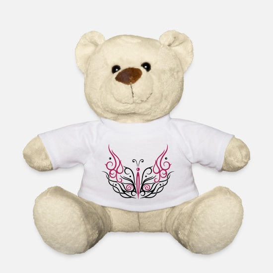 Female Teddy Bear Toys - Big filigree butterfly - Teddy Bear white