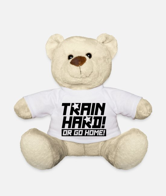 Combat Teddy Bear Toys - train_hard_or_go_re1 - Teddy Bear white
