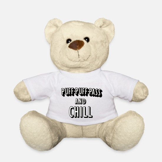 Pothead Teddy Bear Toys - Puff Puff Pass and Chill - Teddy Bear white
