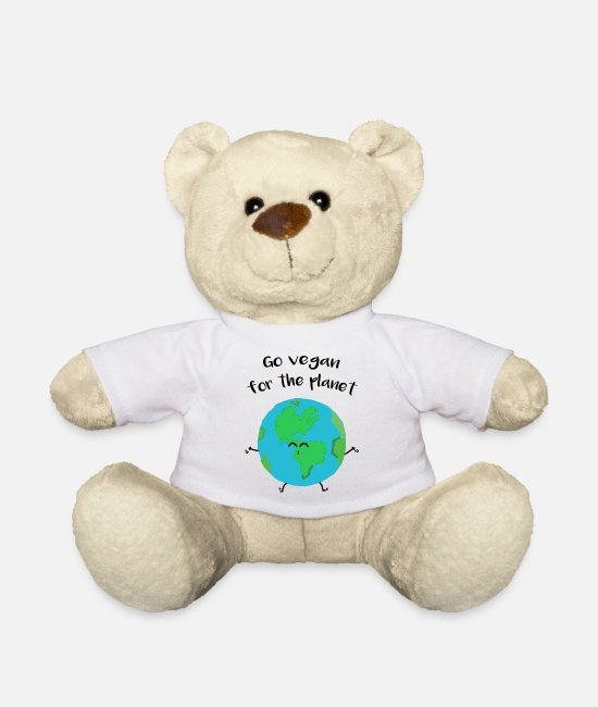 "Nature Teddy Bear Toys - Vegan for the planet - ""Vegan for the planet"" - Teddy Bear white"